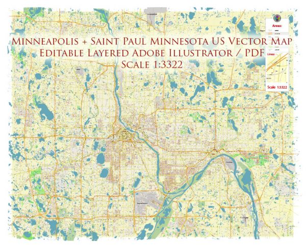 Minneapolis + Saint Paul Minnesota US Map Vector Accurate High Detailed City Plan editable Adobe Illustrator Street Map in layers