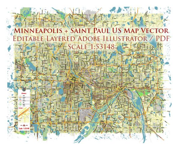 Minneapolis + Saint Paul Minnesota US Map Vector City Plan Low Detailed (for small print size) Street Map editable Adobe Illustrator in layers