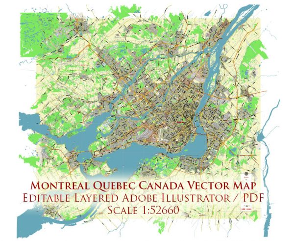 Montreal Quebec Canada Map Vector City Plan Low Detailed (for small print size) Street Map editable Adobe Illustrator in layers