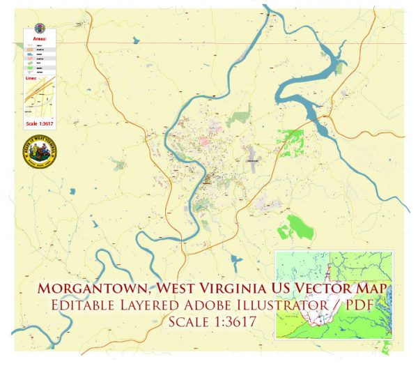 Morgantown West Virginia US Map Vector Accurate High Detailed City Plan editable Adobe Illustrator Street Map in layers