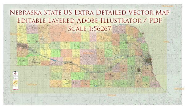 Nebraska Full State US Vector Map: Full Extra High Detailed (all roads, zipcodes, airports) + Admin Areas editable Adobe Illustrator in layers