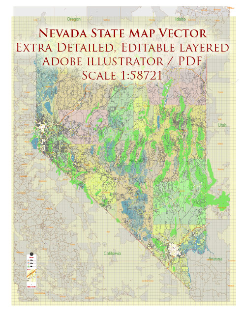 Nevada Full State US Vector Map: Full Extra High Detailed (all roads, zipcodes, airports) + Admin Areas editable Adobe Illustrator in layers