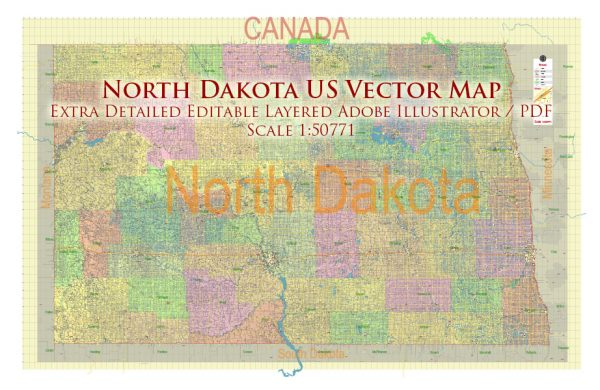 North Dakota US Map Vector Exact State Plan High Detailed Road Map + Counties + Zipcodes + Airports editable Adobe Illustrator in layers