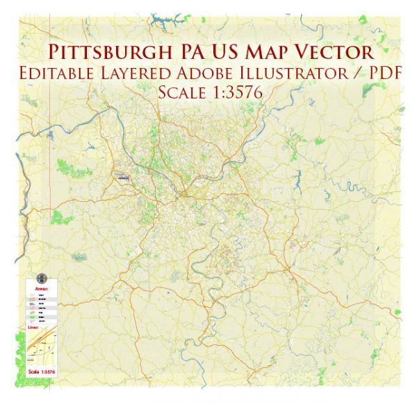 Pittsburgh Pennsylvania Metro Area Map Vector Accurate High Detailed City Plan + Zipcodes editable Adobe Illustrator Street Map in layers