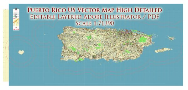 Puerto Rico Full State US Vector Map: Full Extra High Detailed (all roads, zipcodes, airports) editable Adobe Illustrator in layers