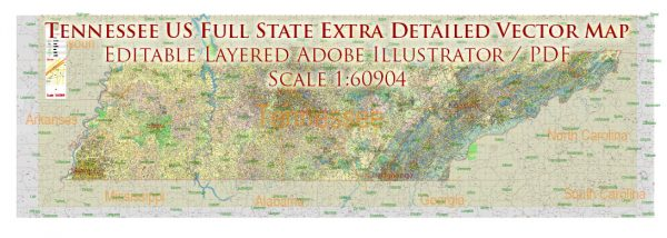 Tennessee US Map Vector Accurate Roads Plan High Detailed Street Map + Counties + Zipcodes editable Adobe Illustrator in layers