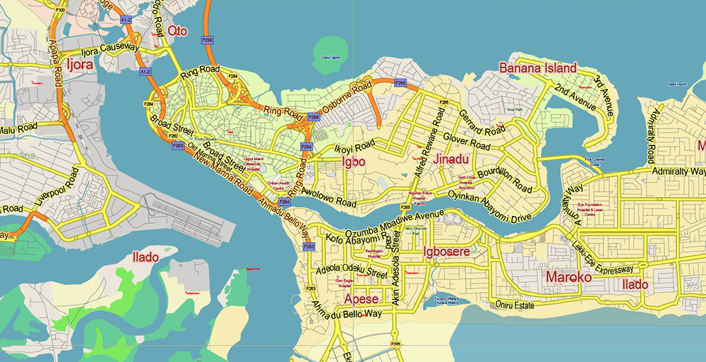 Lagos State, Nigeria Vector Map: Full Extra High Detailed + Admin Areas editable Adobe Illustrator in layers