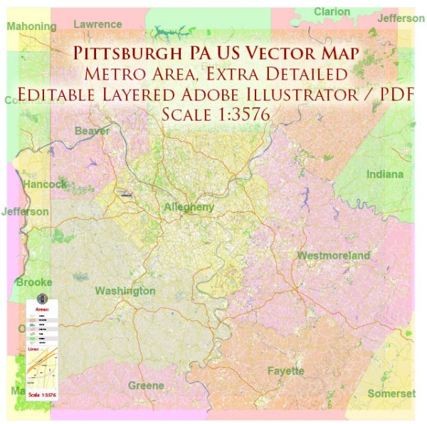 Pittsburgh Pennsylvania Metro Area Map Vector Exact State Plan High Detailed Road Map + Counties + Zipcodes editable Adobe Illustrator in layers
