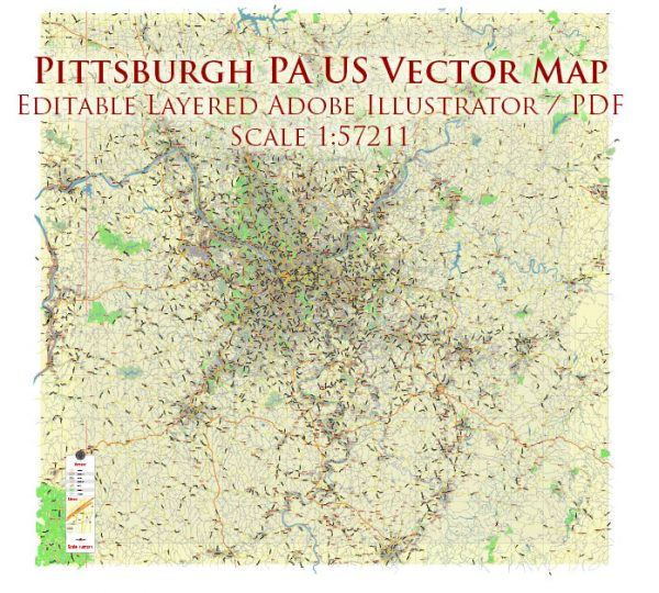 Pittsburgh Pennsylvania Metro Area Map Vector City Plan Low Detailed (for small print size) Street Map editable Adobe Illustrator in layers