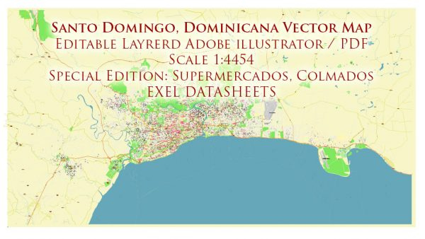 Santo Domingo Dominicana Metro Area Map Vector Exact City Plan High Detailed Street Map + Datasheets, editable Adobe Illustrator in layers