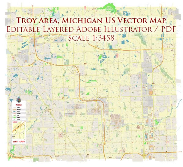 Troy Area, Michigan US Map Vector Accurate High Detailed City Plan editable Adobe Illustrator Street Map in layers