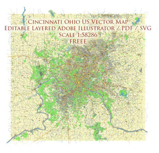Cincinnati Ohio US Vector Map Free Editable Layered Adobe Illustrator + PDF + SVG