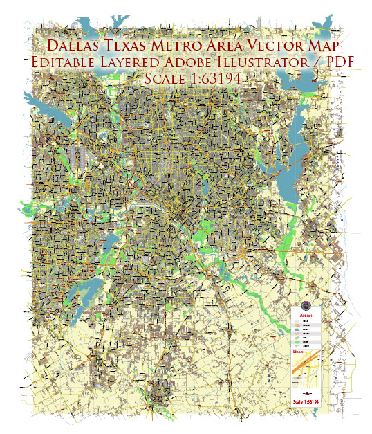 Dallas Texas US Map Vector City Plan Low Detailed (for small print size) Street Map editable Adobe Illustrator in layers