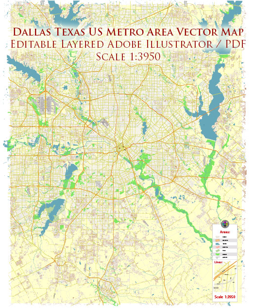 Dallas Texas US Map Vector Metro Area Accurate High Detailed City Plan editable Adobe Illustrator Street Map in layers