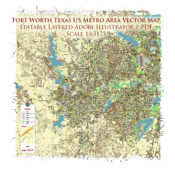 Fort Worth Texas US Map Vector Metro Area City Plan Low Detailed (for small print size) Street Map editable Adobe Illustrator in layers