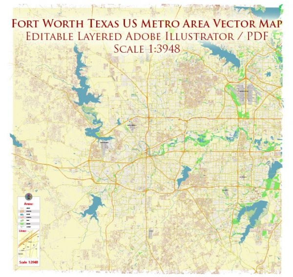 Fort Worth Texas US Map Vector Metro Area Accurate High Detailed City Plan editable Adobe Illustrator Street Map in layers