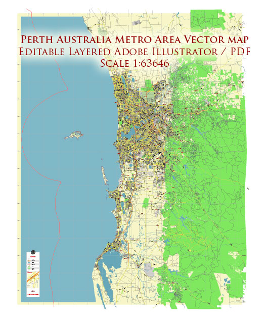 Perth Metro Area Australia Map Vector City Plan Low Detailed (for small print size) Street Map editable Adobe Illustrator in layers