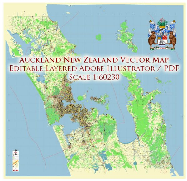 Auckland New Zealand Map Vector Exact Low Detailed City Plan editable Adobe Illustrator Street Map in layers