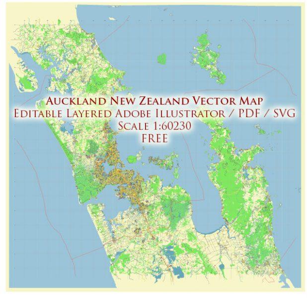Auckland New Zealand Vector Map Free Editable Layered Adobe Illustrator + PDF + SVG