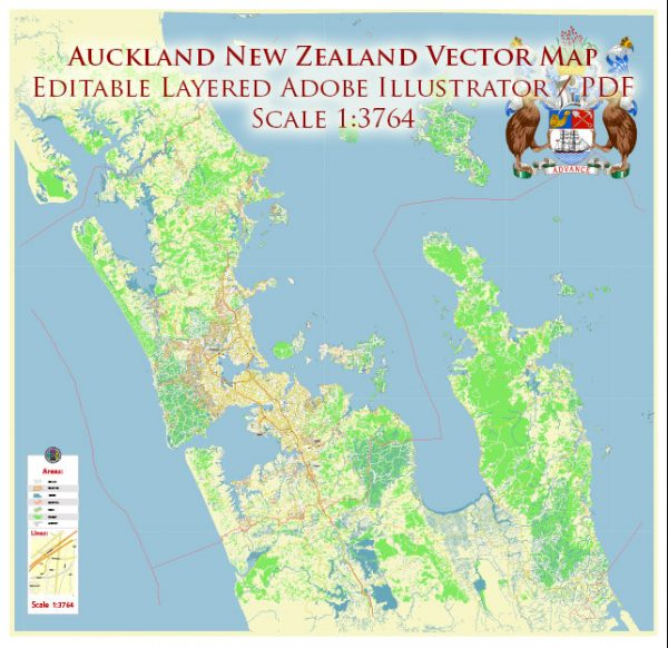 Auckland New Zealand Map Vector Exact High Detailed City Plan editable Adobe Illustrator Street Map in layers