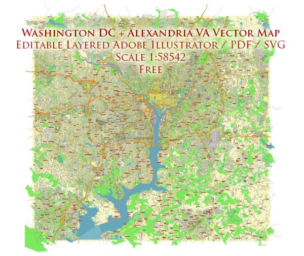 Washington DC + Alexandria VA Vector Map Free Editable Layered Adobe Illustrator + PDF + SVG