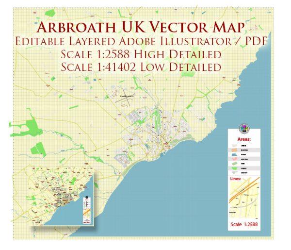 Arbroath UK Map Vector Exact High Detailed City Plan editable Adobe Illustrator Street Map in layers