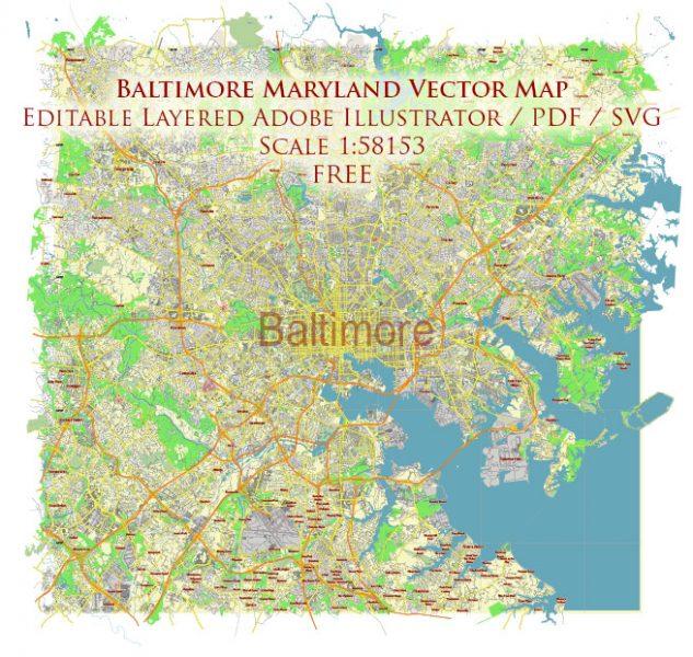 Baltimore Maryland US Vector Map Free Editable Layered Adobe Illustrator + PDF + SVG