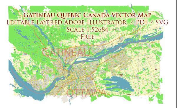 Gatineau Quebec Canada Vector Map Free Editable Layered Adobe Illustrator + PDF + SVG