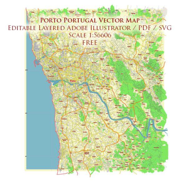 Porto Portugal Vector Map Free Editable Layered Adobe Illustrator + PDF + SVG