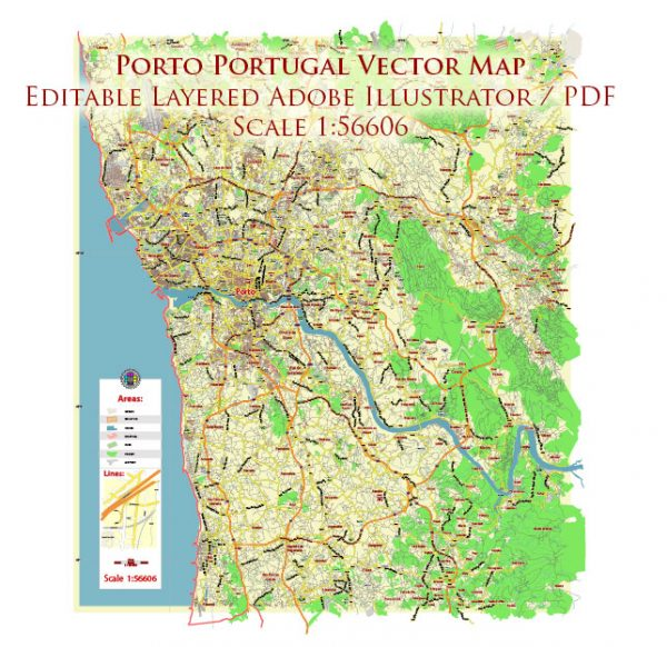 Porto Portugal Map Vector City Plan Low Detailed (for small print size) Street Map editable Adobe Illustrator in layers
