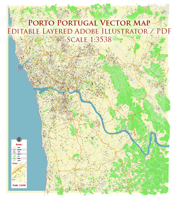 Porto Portugal Map Vector Exact High Detailed City Plan editable Adobe Illustrator Street Map in layers
