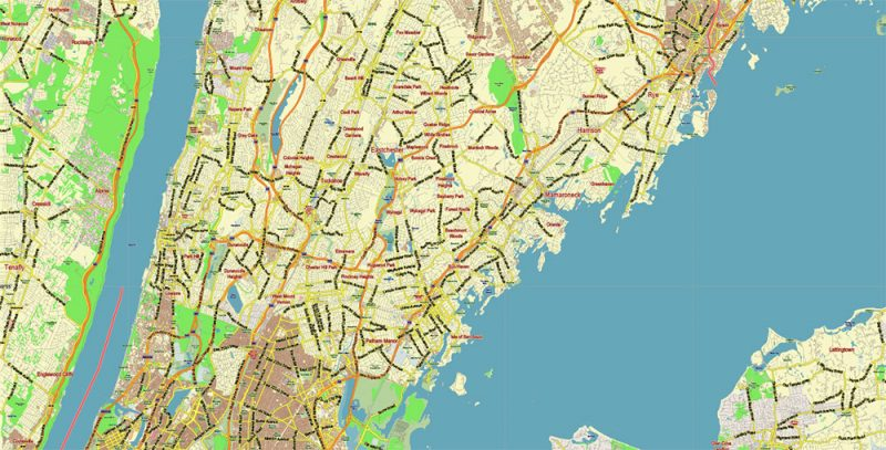 White Plains New York US Map Vector City Plan Low Detailed (for small print size) Street Map editable Adobe Illustrator in layers
