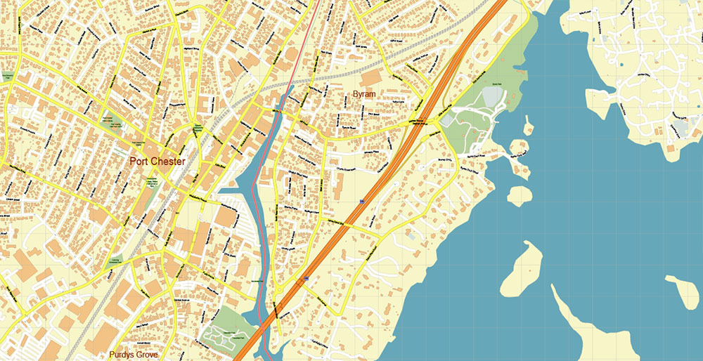 White Plains New York US PDF Vector Map: Exact High Detailed City Plan editable Adobe PDF Street Map in layers