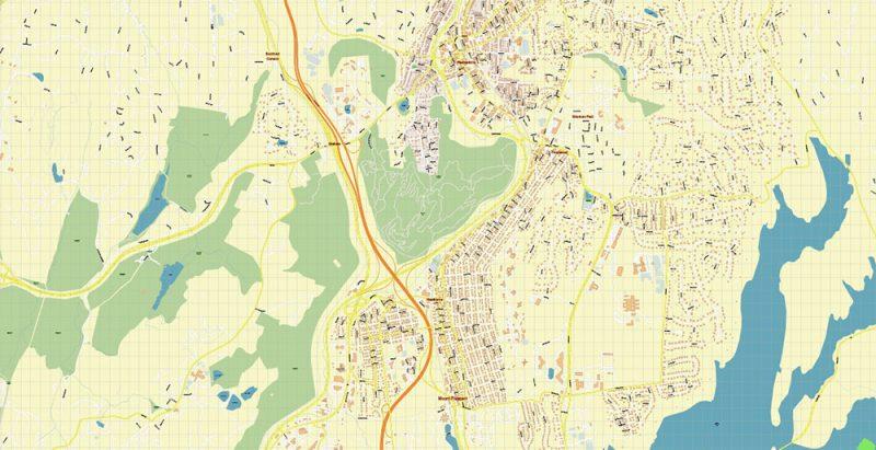 White Plains New York US Map Vector Exact High Detailed City Plan editable Adobe Illustrator Street Map in layers