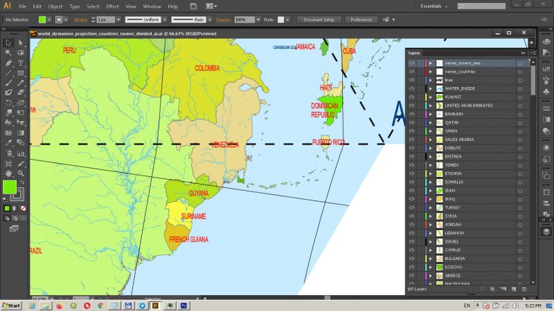 World Vector Map Dymaxion Projection Adobe Illustrator Detailed Divided by layers by Country names (areas)
