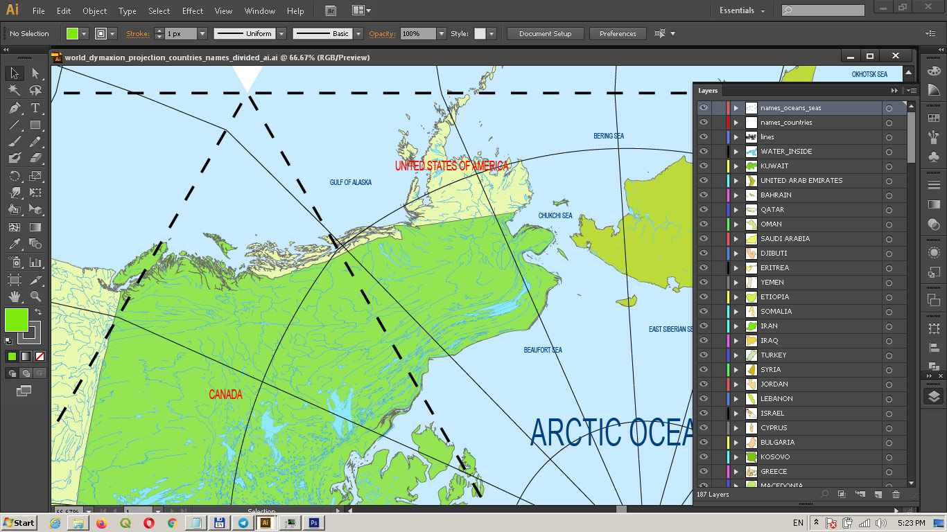 World PDF Vector Map: Dymaxion Projection Adobe PDF Detailed Divided by layers by Country names (areas)