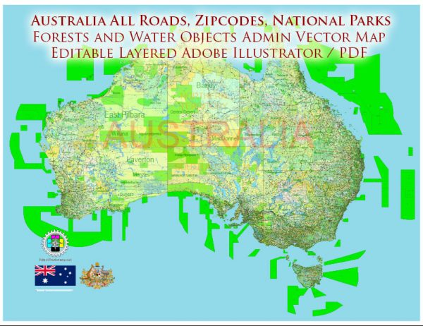 Australia Printable Vector Map 01 exact extra detailed Country Plan Roads Admin ZipCodes (POA) Forests National Parks fully editable Adobe Illustrator