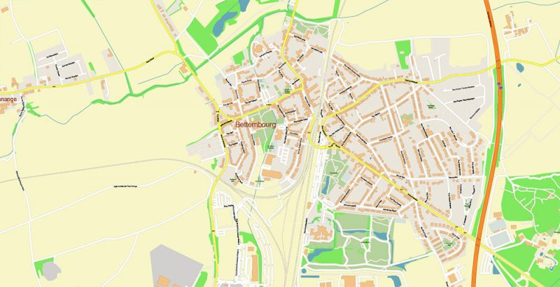 Luxembourg City Metro Area Map Vector Exact High Detailed City Plan editable Adobe Illustrator Street Map in layers