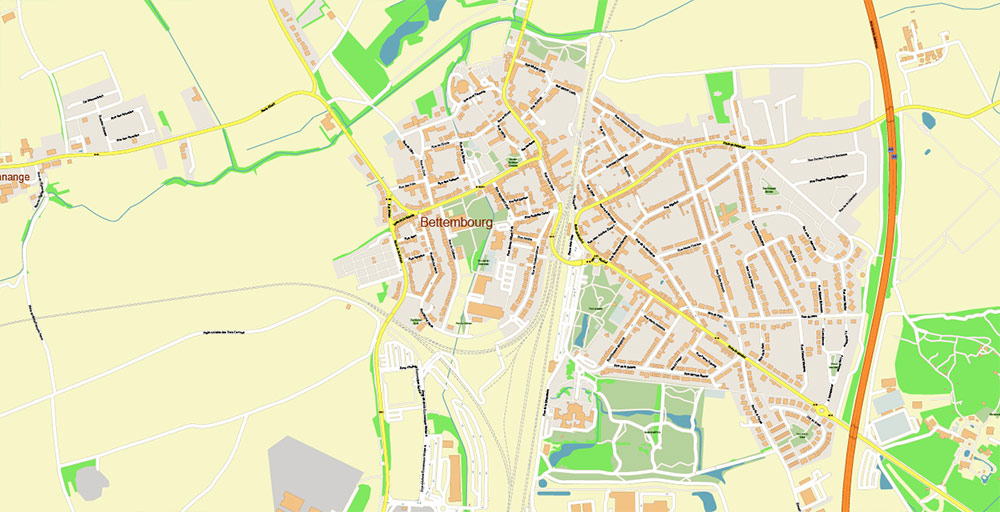 Luxembourg City Metro Area PDF Vector Map: Exact High Detailed City Plan editable Adobe PDF Street Map in layers