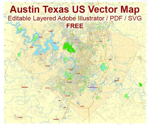 Austin Texas US Vector Map Free Editable Layered Adobe Illustrator + PDF + SVG