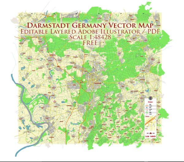 Darmstadt Germany Vector Map Free Editable Layered Adobe Illustrator + PDF + SVG