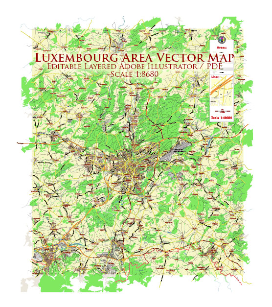 Luxembourg Map Vector City Plan Low Detailed (for small print size) Street Map editable Adobe Illustrator in layers
