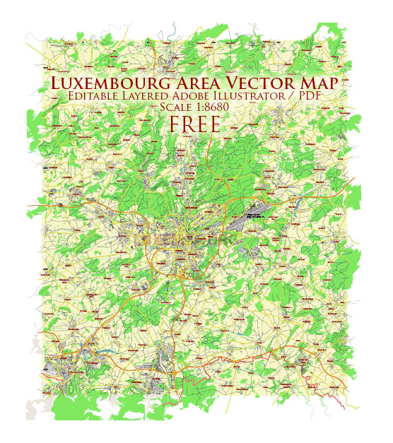 Luxembourg Vector Map Free Editable Layered Adobe Illustrator + PDF + SVG