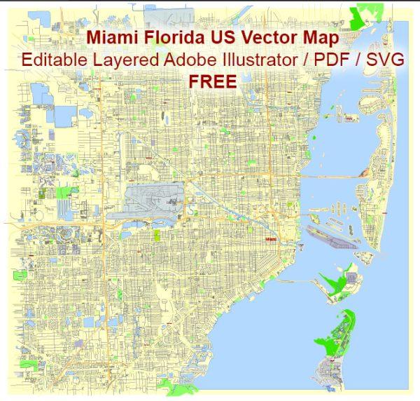 Miami Florida US Vector Map Free Editable Layered Adobe Illustrator + PDF + SVG