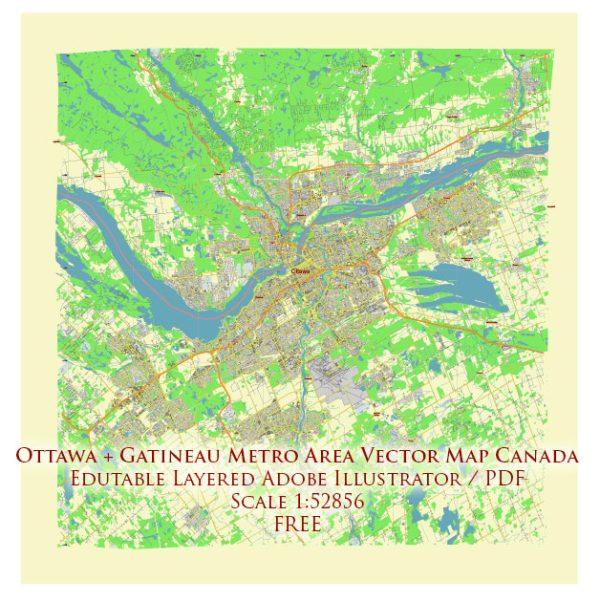 Ottawa Canada Vector Map Free Editable Layered Adobe Illustrator + PDF + SVG