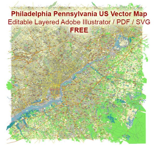 Philadelphia Pennsylvania US Vector Map Free Editable Layered Adobe Illustrator + PDF + SVG