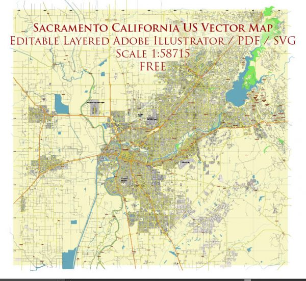 Sacramento California US Vector Map Free Editable Layered Adobe Illustrator + PDF + SVG