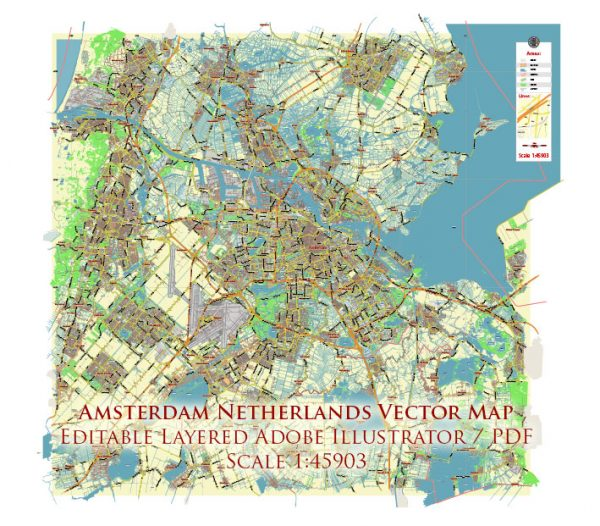 Amsterdam Netherlands Map Vector City Plan Low Detailed (for small print size) Street Map editable Adobe Illustrator in layers