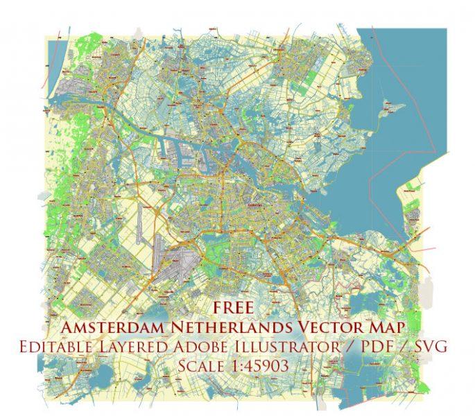 Amsterdam Netherlands Vector Map Free Editable Layered Adobe Illustrator + PDF + SVG