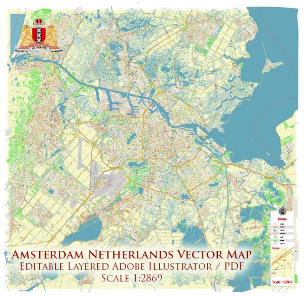 Amsterdam Netherlands Map Vector Exact High Detailed City Plan editable Adobe Illustrator Street Map in layers